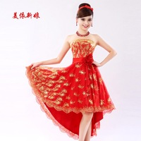 2014 new arrival The bride short bandage asymmetrical formal dress red lace up embroidered evening dress