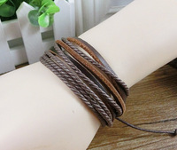 2013 New Arrival Wrap Leather Black and Brown Braided Rope Bracelet for Men and Women Charms Fashion Man Jewelry 20pcs/lot