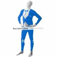 Free shipping Halloween party Lycra Spandex zentai costume Tuxedo  blue full bodysuit