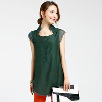 2013 women's loose plus size chiffon shirt short-sleeve chiffon shirt medium-long mm top