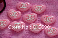 Flatback Pink Heart Cabochon for Phone ornament 30pcs/lot