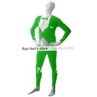 Trendy Green Glow Tuxedo Pattern Gentlemen Lycra Spandex Halloween Costume Multi-Color Zentai Suit Cosplay Body Suit