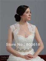 Custom Made Fashion Design 2014 Lace Sleeveless Keyhole Back Bridal Boleros Wrap Wedding Jacket Shrug