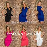 5 Color S M L XL Plus Size 2014 New European Fashion Women Hot Popular Elegant Bodycon Peplum Dress Casual Dress 5163