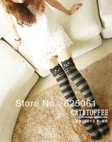 Free shipping! Women Cute Cat Tail Kitten stripe Knee High Tattoo Stockings Pantyhose Tights  girls pantyhoses