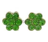 Free shipping!!!Zinc Alloy Stud Earring,western, Flower, gold color plated, with rhinestone, green, nickel, lead & cadmium free