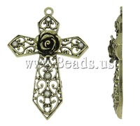 Free shipping!!!Zinc Alloy Cross Pendants,Jewelry Making, antique bronze color plated, with rhinestone, nickel