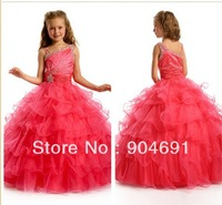 Red Tulle Junior Prom Party Dress Stage Performance Gown Beads Flower Girl Dress Tiered Pageant Girl dresS Gown F131221