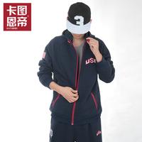 FREE SHIPPING Usa american team 100% thickening cotton sports set basketball set sweatshirt sportswear male