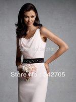2014 Hot Selling Vestido De Noiva Mother Dresses Shoulder Straps Neckline Sleeveless Knee-length crystal Short Dress