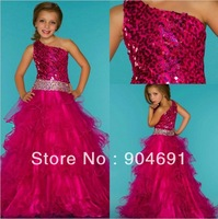 Red Tulle Junior Prom Party Dress Stage Performance Gown Sequins Flower Girl Dress Pageant Girl dresS Gown F131210