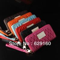 European and American big female Korean autumn new style single zipper wallet wrinkled skin, Ms. Long clutch bag dinner