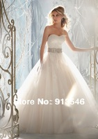 New Arrival Design A-Line With Removed Jacket Tulle Appliqued Beaded Belt Wedding Dress For Bridal