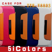 Free shipping  Leather Case 4 inch  For ZTE V889S  Protective holster shell(5icolors-A)