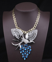Free shipping statement necklace fashion sliver jewelry crystal phoenix choker necklace chunky necklace wing jewelry for women