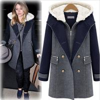 Fashion winter fashion plus velvet thickening medium-long plus cotton wool coat woolen outerwear l6810 women's