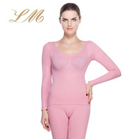 Thermal underwear female set modal thin young girl autumn underwear seamless beauty care low collar