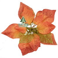 Maple leaf red Christmas 20cm christmas flower poinsettia flower maple leaf red gradient christmas flower rattails flower