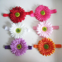"6 Color Gerbera Daisy Flower  +1.5"" Elastic Stretch Crochet Headband Toddler Infant Headbands Baby Hair Jewelry Headwear 12HB005"