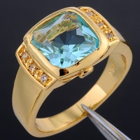 Size 8-12 Brand Jewelry Square Blue Aquamarine 10KT Yellow Gold Filled Party Ring