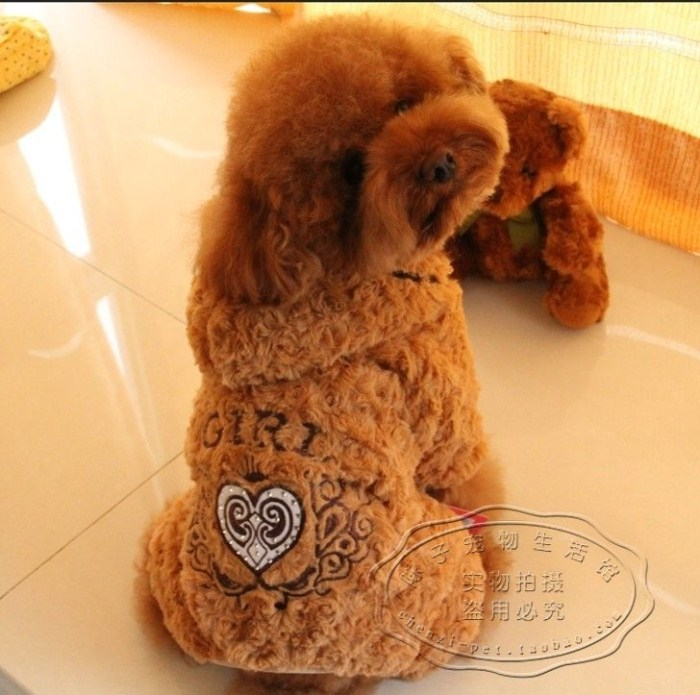 free shipping clothes for dogs Pet teddy autumn and winter thickening rose circle plush clothing(China (Mainland))