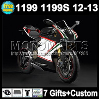 7gifts black white Injection  For DUCATI 1199 1199S 12-13 11Q100 12 13 black white green 2012 2013 panigale 1199 1199S Fairing K