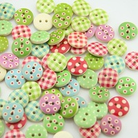 15mm Mixed styles wooden buttons for craft sewing button scrapbooking 200pcs/lot