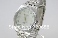 Free shipping  2013 vogue fashion wristwatch elegant handsome full steel white quartz watch   luxury rhinestone watches