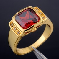 Genuine Brand Jewelry Square Red Garnet Crystal Stone 10KT Yellow Gold Filled Cocktail Ring