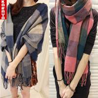 Karaya 2013 yarn autumn and winter female long plaid solid color muffler scarf thermal cape scarf
