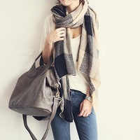 Free shipping Naning9 n9 elegant plaid beige color block all-match knitted scarf