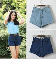 free shipping summer new 100% Cotton Fashion Brand woman retro high waist denim Jeans shorts
