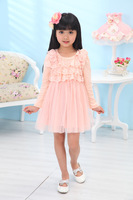 Wholesale Children Girls Autumn Long Sleeve Dress Girls Cute Flower Lace Dress 5pcs/lot