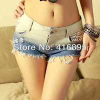 Sexy Mini Jeans Destroyed Shorts Hot Pants Denim Color gradient Low Waist Jazz 12060512