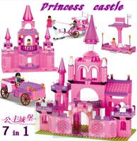 WOMA /Sluban No. J5739 Friends 7 IN 1 Princess castle Girl Toy 3D Plastic DIY Building blocks Finger toys Enlighten Gift
