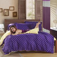 Textile polka dot thermal velvet thickening coral fleece bedding set piece chromophous kit