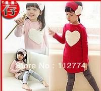 Retail piece/lot 2014 autumn child female child long-sleeve T-shirt trousers hair accessory set 10a-4 love set