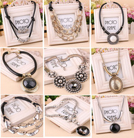 Fashion necklace vintage fashion geometry triangle colnmnaris leather all-match rope elegant accessories