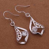 Wholesale! Free Shipping Wholesale 925 silver Earrings, 925 silver fashion jewelry 8mm Flat Earrings E259