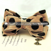 Free shipping 6Pcs/Lot New cute children hair clips corduroy bow dots fashion hair barrettes Woman/girl hair accessories FJ2161
