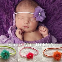 Tulle lace with Pearls and Rhinestone Flower Headband OR Clip Perfect Photo Prop - Made to Fit Newborns - Babies - Toddlers