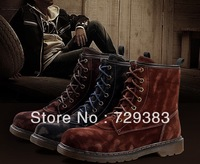 2013 Fashion Men's boots outdoor real fur leather male tooling martin animal color high top shoes top quality