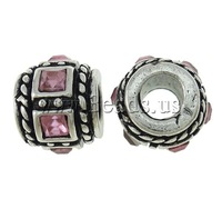 Free shipping!!!Zinc Alloy European Beads,2013 men, Drum, antique silver color plated, with glass rhinestone & without troll