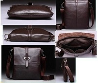 Mens Genuine Leather Male Commercial Casual Handbag Cowhide Shoulder Messenger Design Bag free shipping