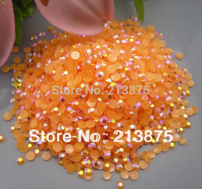 Wholesale large quantity 50000pcs Orange yellow Magic color AB jelly 4mm resin rhinestones Mobile stick drill SS16 0404#(China (Mainland))