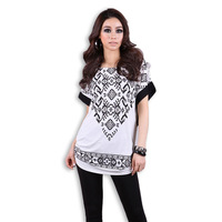 2014 Fashion And Creative Women T-shirt Top Batwing Short-Sleeve Black White Loose Plus Size Shirt 2XL 3XL 4XL 5XL