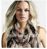 NEW 2013 woman winter brand  silk scarves Plus size ultra long begonia flowers dream cotton bali scarf  scarves & wraps 120621