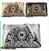 Wholesale European Luxury American Vintage Style Print Envelope Clutch PU Leather  Messenger Bag Free Shipping YX1046