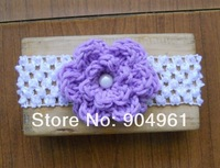 MOQ 1pc retail Lilac crochet flower headband baby birthday flower headband with pear