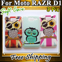 10pcs/lot Smooth Soft Fansion Cute OWLs Back Cases for Motorola RAZR D1 Xt918 Free Shipping